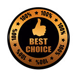 best choice 100 percentages and thumb up sign in golden black ci