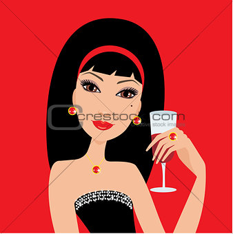Beautiful woman with a wine glass.