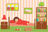 Woman cartoon sleeps