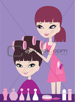 Girl with hair in curlers and the hairdresser