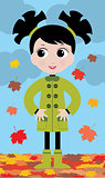 little girl in the autumn on walk