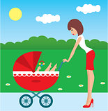 Mother walks with the child in a carriage