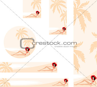 Banner with palm trees and woman