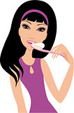 Young woman brushes teeth. A white background. Isolated