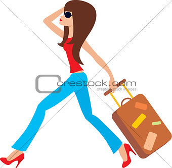 Young woman runs with a suitcase