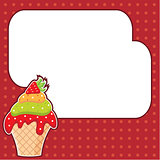 Cupcake with message cloud. Frame for a photo, form