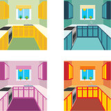 Kitchen interior in four color variants. Kitchen furniture