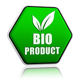 bio product with leaf sign in green button