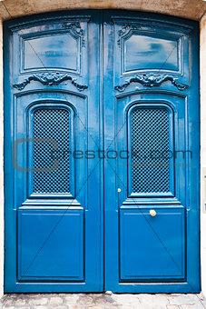French blue wooden door