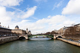 Seine river and Pont d Arcole in Paris