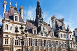 facade of Hotel de Ville (City Hall) in Paris