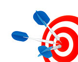 Dart and target for leisure game on a white background
