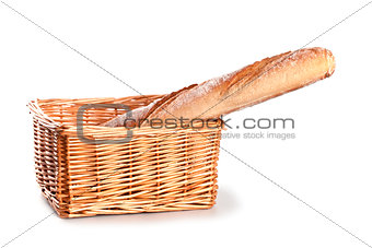 fresh baguette in a basket