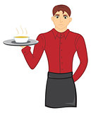 Waiter with soup