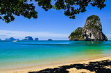 Island sea sand sun beach landscape at phra nang bay, Thailand