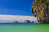 Ocean coast landscape with cliffs and islands at Phra Nang bay