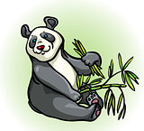 Cartoon panda and bamboo leaves