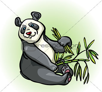Cartoon panda and bamboo leaves
