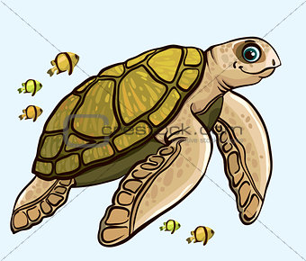 Cartoon funny sea turtle