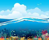 Seascape with underwater creatures and  cloudy sky