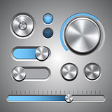 Set of the detailed UI elements with knob, switches and slider in metallic style.