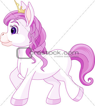 Cute horse princess walking