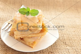 apple pie on white plate