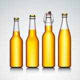 Beer bottle clear set with no label, vector Eps 10 illustration.