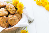 Cookies with dandelion's flowers