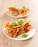 Italian lasagne with fresh basil