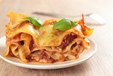 lasagne on wooden table