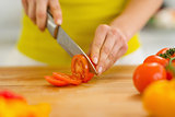 Closeup on woman cutting tomato