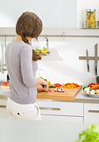 Woman cutting fresh vegetables in modern kitchen . rear view