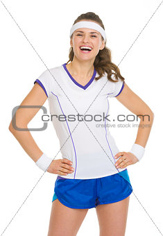 Portrait of smiling female tennis player