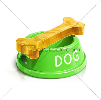 bowl with bone for dog