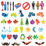 large colourful icon set on various themes