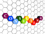 consulting in color hexagons in cellular structure