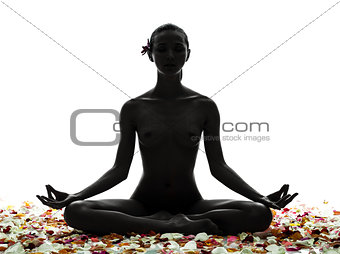 beautiful asian woman naked sitting with flowers petal silhouett
