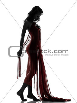 beautiful asian woman naked behind red veil silhouette