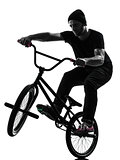 man bmx acrobatic figure silhouette