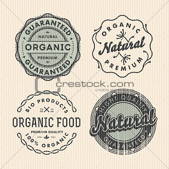 Set vintage organic labels, vector Eps10 illustration.