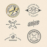 Vector set vintage school labels, vector Eps10 illustration.