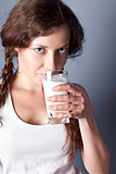 woman enjoying a glass milk