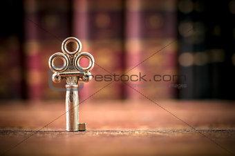 Old Key on a Desk - Copy-space