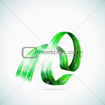 Abstract green shiny ribbons eps10 vector illustration