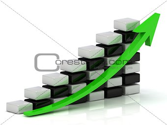 Business growth chart of the white and black blocks in a checkerboard pattern with a green arrow