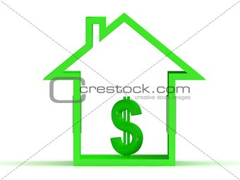 Abstract 3d illustration of house symbol with dollar
