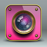 Pink photo camera icon, vector Eps10 illustration.