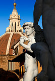 David by Michelangelo and Dome of The Cathedral - Florence Italy