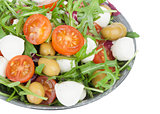 vegetable salad with mozzarella cheese